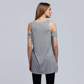 Printed T-Shirt with Round Neck and Cold Shoulders