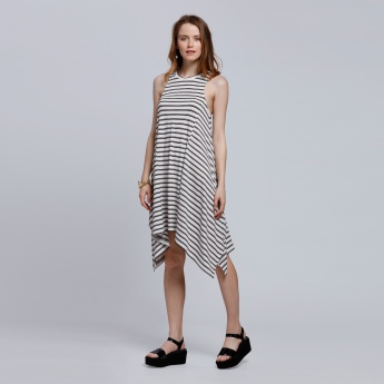 Striped Sleeveless Dress with Round Neck and Asymmetric Hem