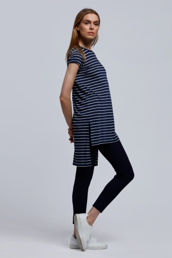 Striped Round Neck Top with Short Sleeves and High Low Hem