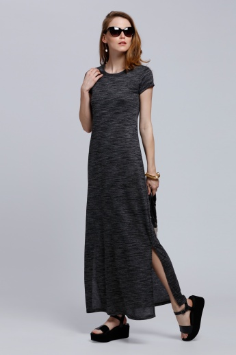 Melange Print Maxi Dress with Round Neck and Short Sleeves