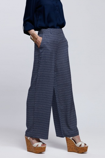 Printed Full Length Palazzo Pants with Pocket Detail