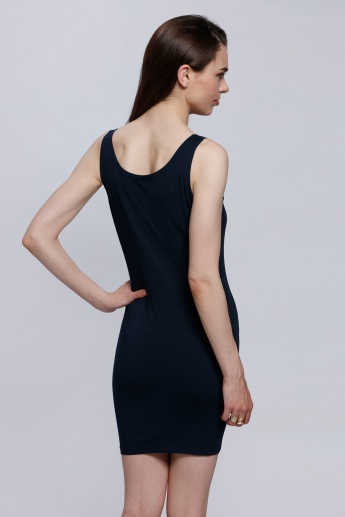Long Sleeveless Vest with Round Neck