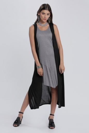 Sleeveless Open Front Shrug with Side Slits