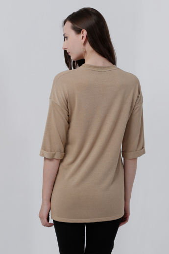 Round Neck High Low Hem Top with 3/4 Sleeves