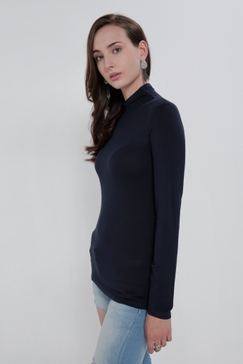 Long Sleeves Top with High Neck