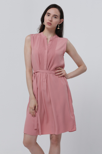 Sleeveless Midi Dress with Pleats and Tie Up