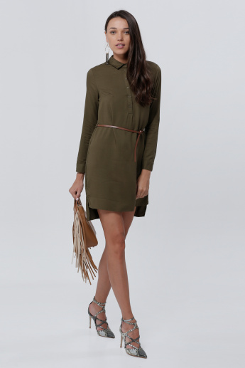 Shirt Dress with Long Sleeves and Belt