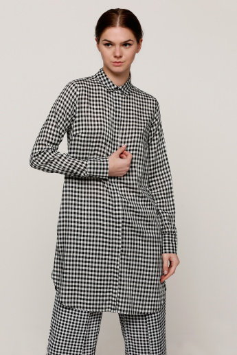 Chequered Long Line Shirt with Long Sleeves and Pocket Detail