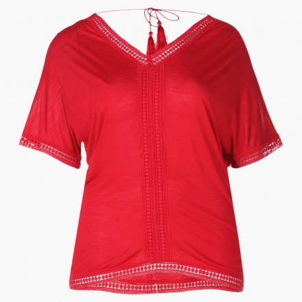 Plus Size Tassel-embellished Top with Raglan Sleeves