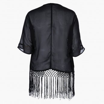 Plus Size Jacket with Print and Tassels