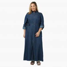 Plus size denim maxi dress
