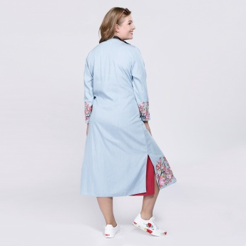 Embroidered Long Shrug with Long Sleeves
