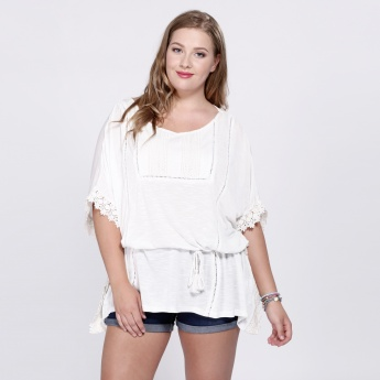 Short Sleeves Top with Lace Cuffs