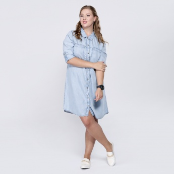 Denim Shirt Dress with Long Sleeves
