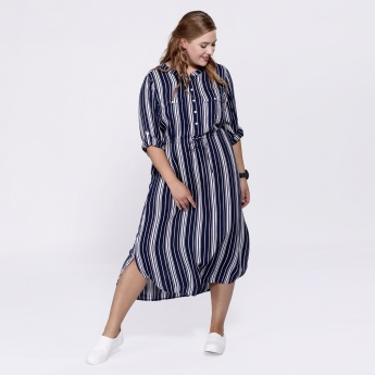 Striped Mandarin Collar Tunic with Long Sleeves and Tabs