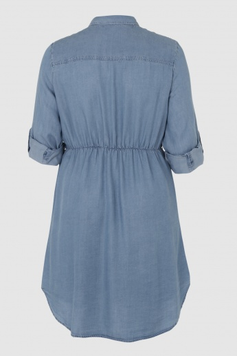 Shirt Dress with Roll Up Sleeves and Elasticised Waistband