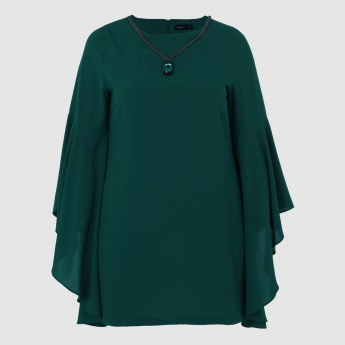 Embellished Tunic with Flutter Sleeves and Round Neck