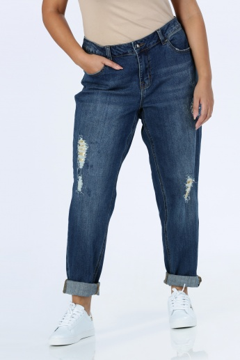 Ripped Jeans with Button Closure