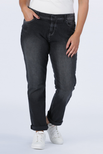 Full Length Jeans with Button Closure