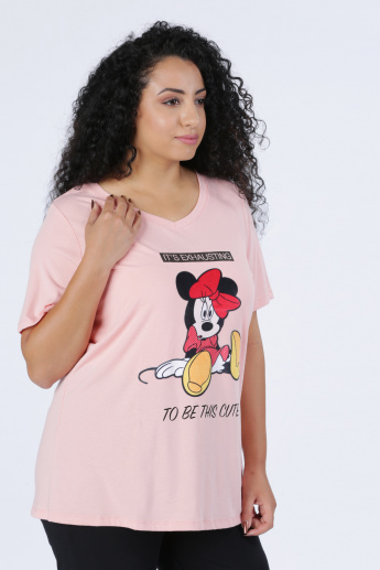 Minnie Mouse Printed T-Shirt with V-Neck and Short Sleeves