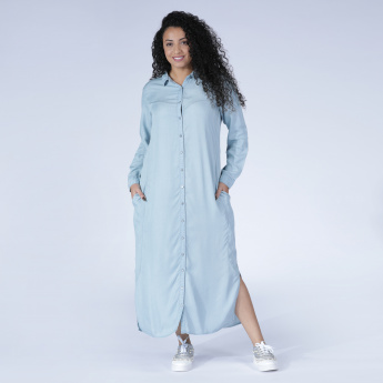 f26928cf0a2 Embroidered Maxi Shirt Dress with Long Sleeves