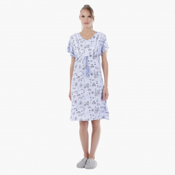Printed Short Dress with Short Sleeves