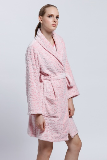 Textured Robe with Long Sleeves and Tie Up