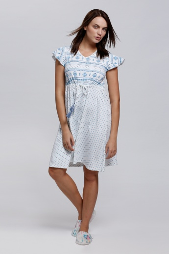 Printed V-Neck Midi Sleep Dress