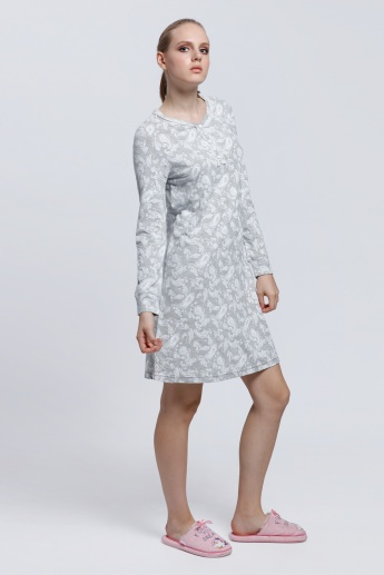 Printed Midi Dress with Round Neck and Short Sleeves