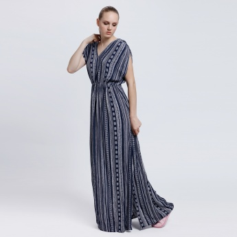 Printed Maxi Dress with Short Sleeves