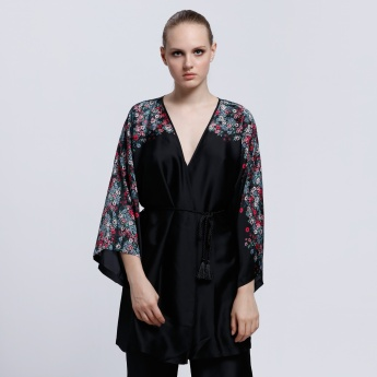 Printed Kimono Robe with Flared Sleeves
