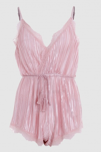 Romper with Lace Detail and Spaghetti Straps