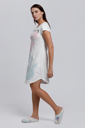 Printed Sleep Shirt with Round Neck and Short Sleeves
