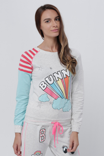 Printed Sweat Top with Long Sleeves
