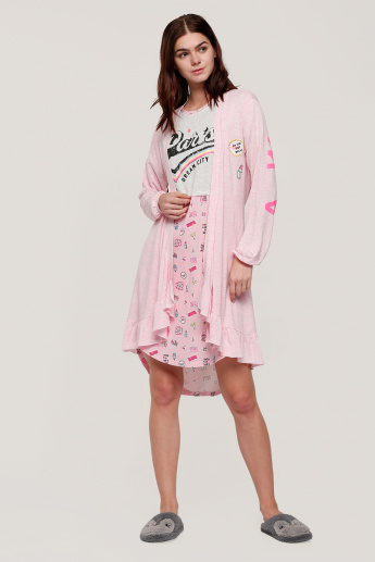 Printed Round Neck Sleep Dress with Short Sleeves