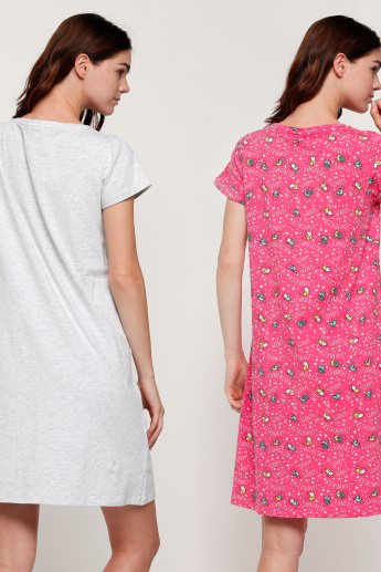 Printed Round Neck Sleep Dress with Short Sleeves - Set of 2
