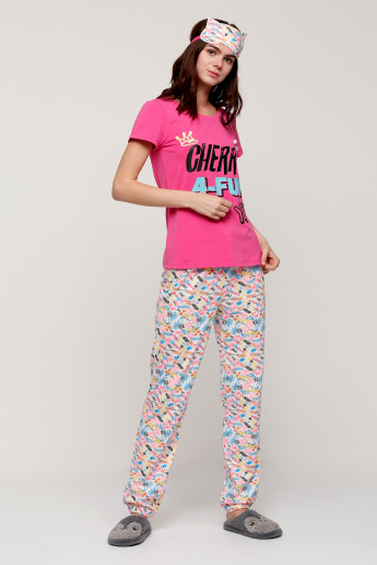 Printed T-Shirt and Pajama Set
