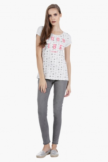 Smiley World Melange T-Shirt with Placement Print in Regular Fit