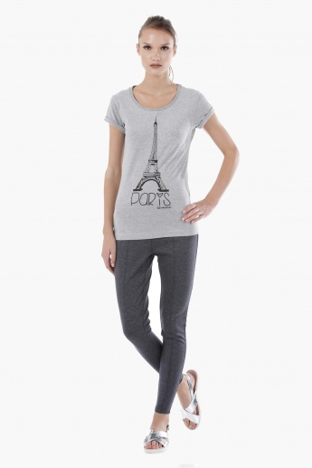 Smiley World Printed Melange T-Shirt with Short Sleeves in Regular Fit