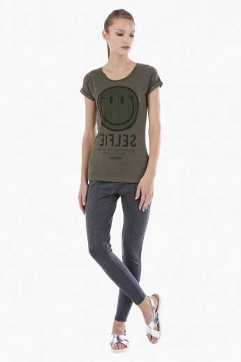 Smiley World Graphic Print T-Shirt with Short Sleeves in Regular Fit