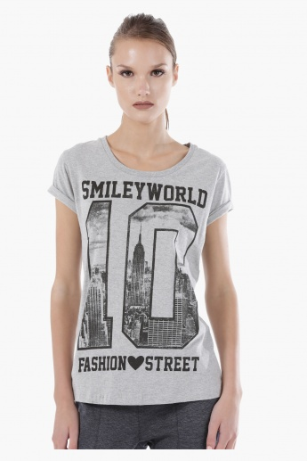 Smiley World Graphic Print Melange T-Shirt with Short Sleeves in Regular Fit