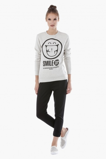 Smiley World Printed Melange Sweatshirt with Long Sleeves