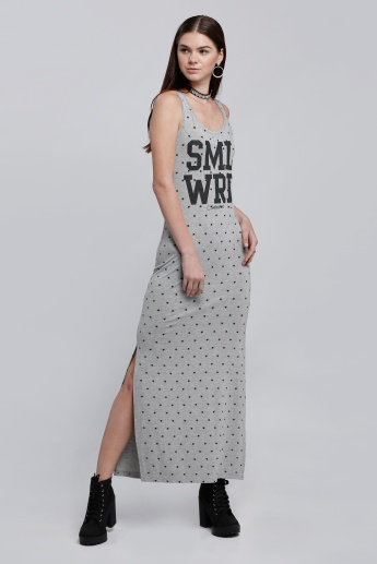 Smiley World Printed Sleeveless Tunic with Round Neck and Slits