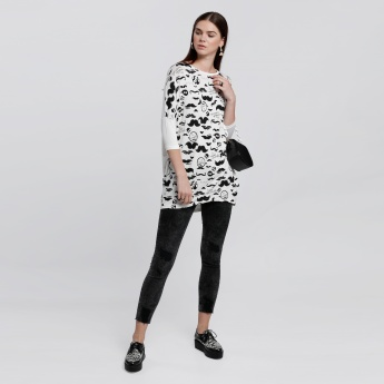 Smiley World Printed T-Shirt with Round Neck and 3/4 Sleeves
