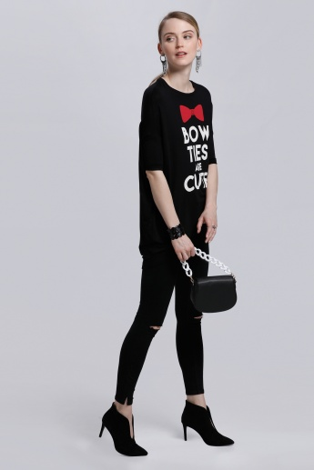 Smiley World Printed Long T-Shirt with Round Neck and Short Sleeves