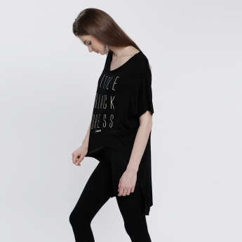 Smiley World Printed Round Neck T-Shirt with High Low Hem