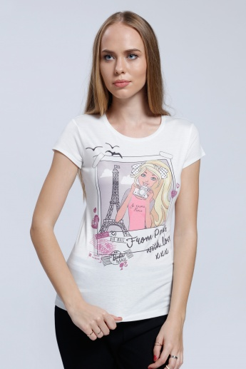 Barbie Printed T-Shirt with Round Neck and Short Sleeves