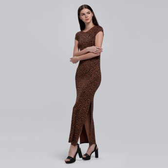 Barbie Leopard Print Maxi Dress with Slit and Short Sleeves
