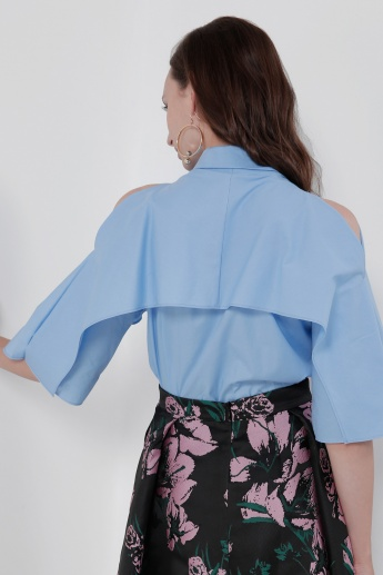 3/4 Sleeves Top with Spread Collar
