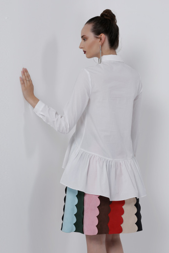Embroidered Top with Frilled Hem and Long Sleeves